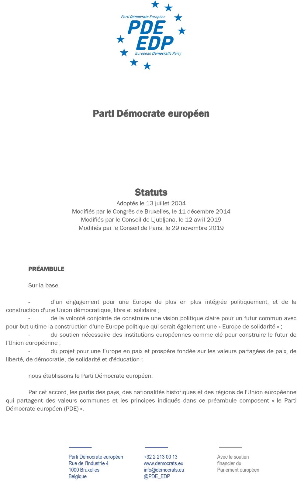 Statuts en français