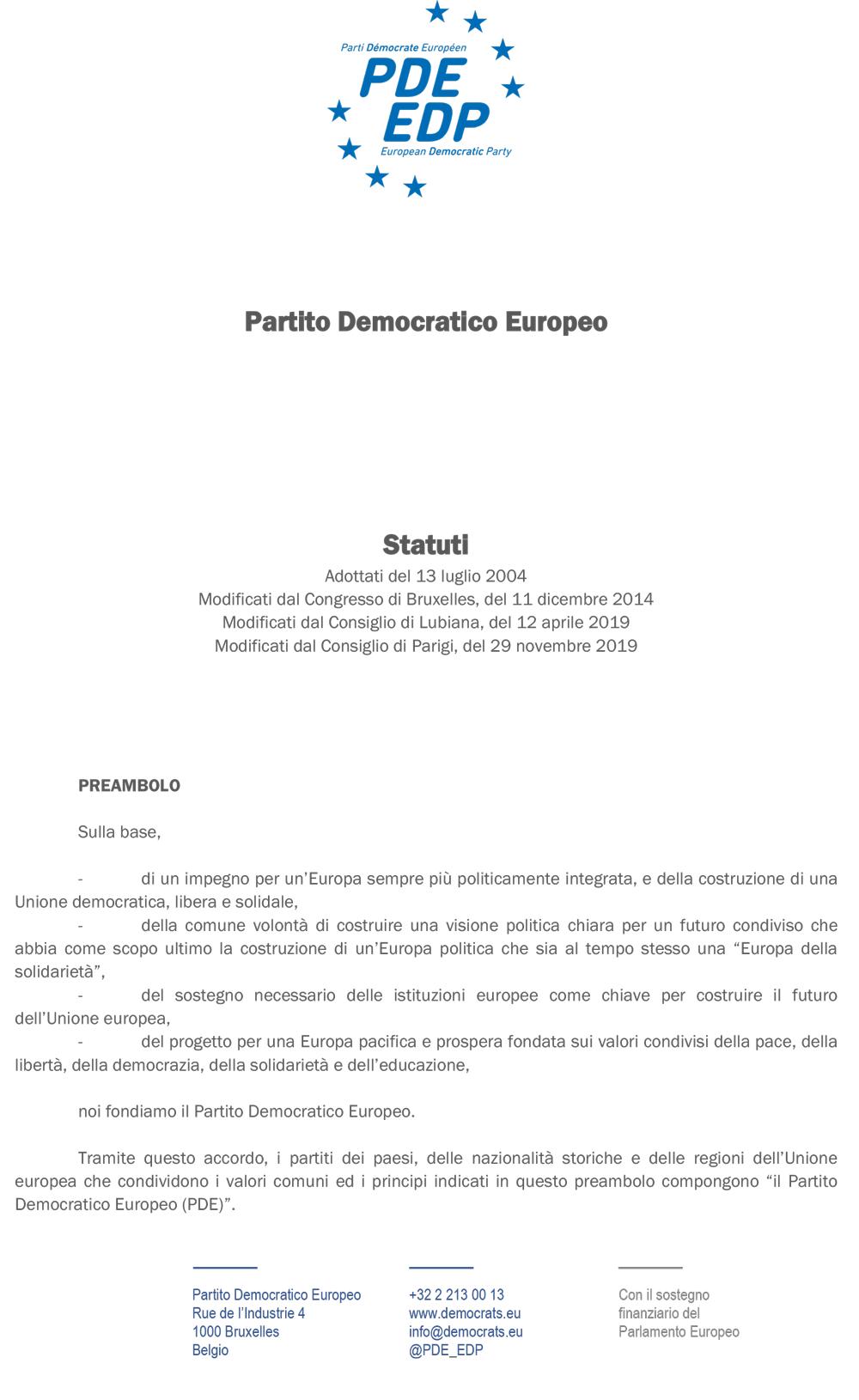 Statuti PDE