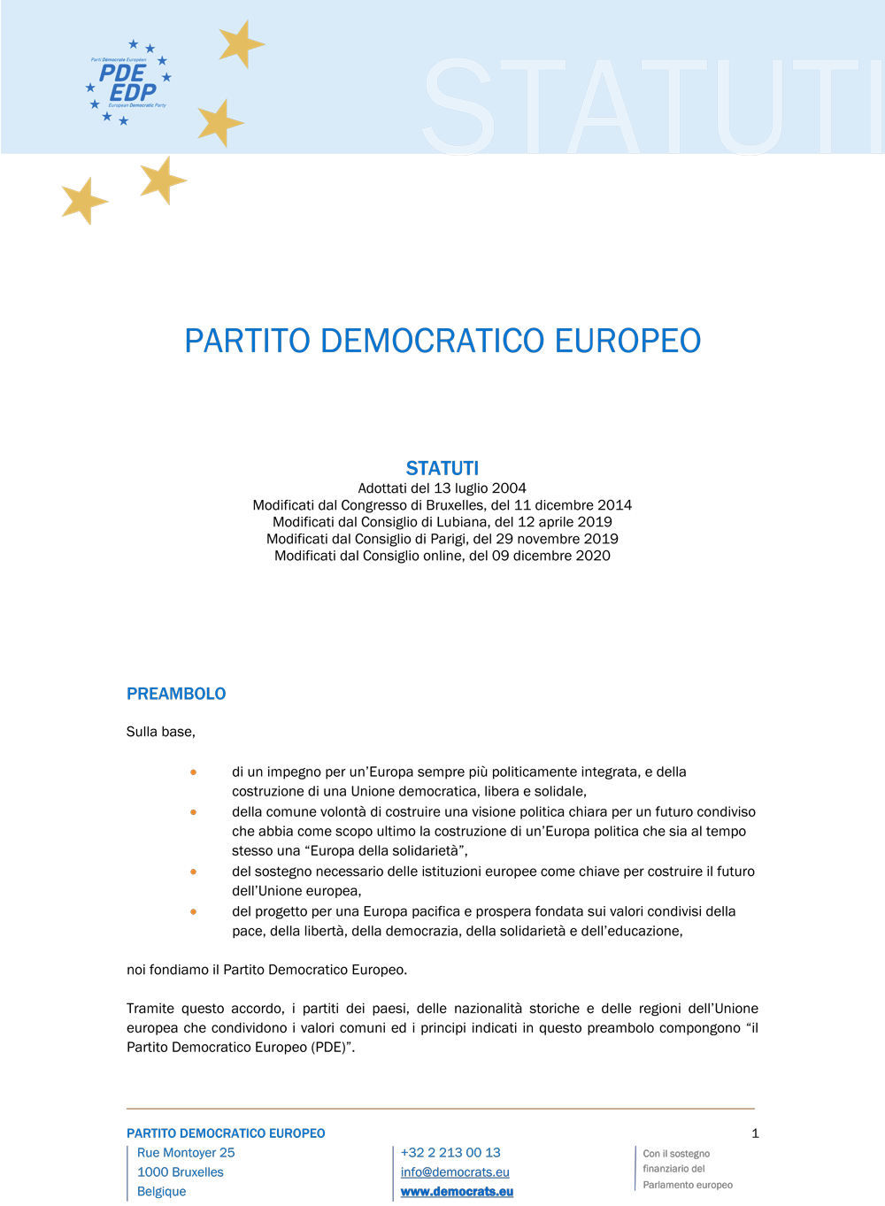 Statuti PDE 2020